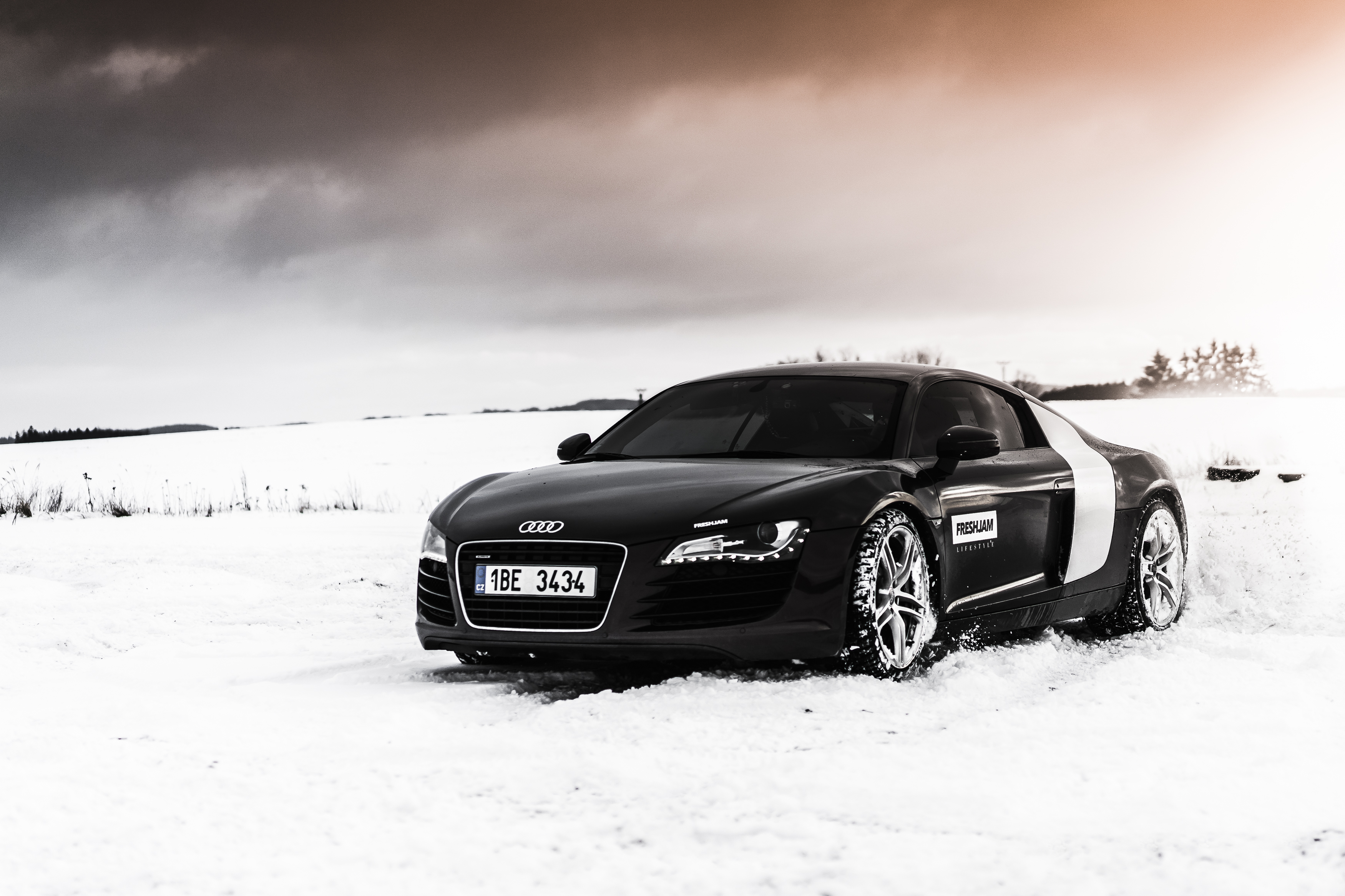 R8 Winter Desktop Wallpaper in Snow