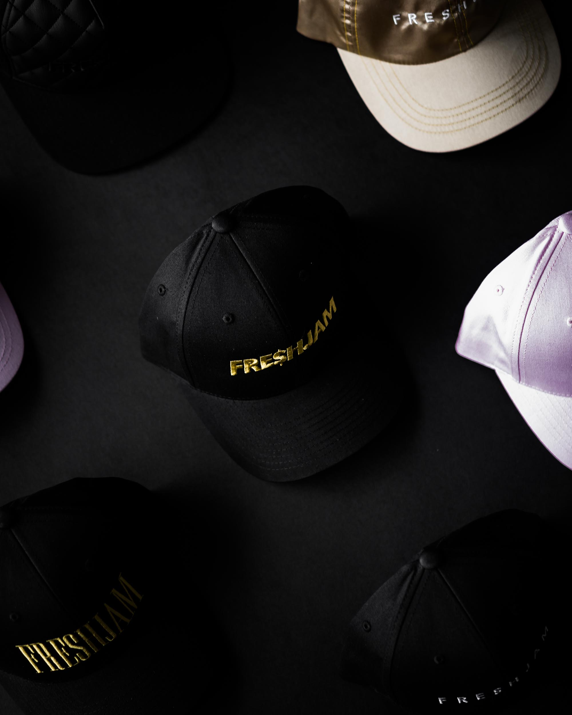 Snapbacks on Black Background